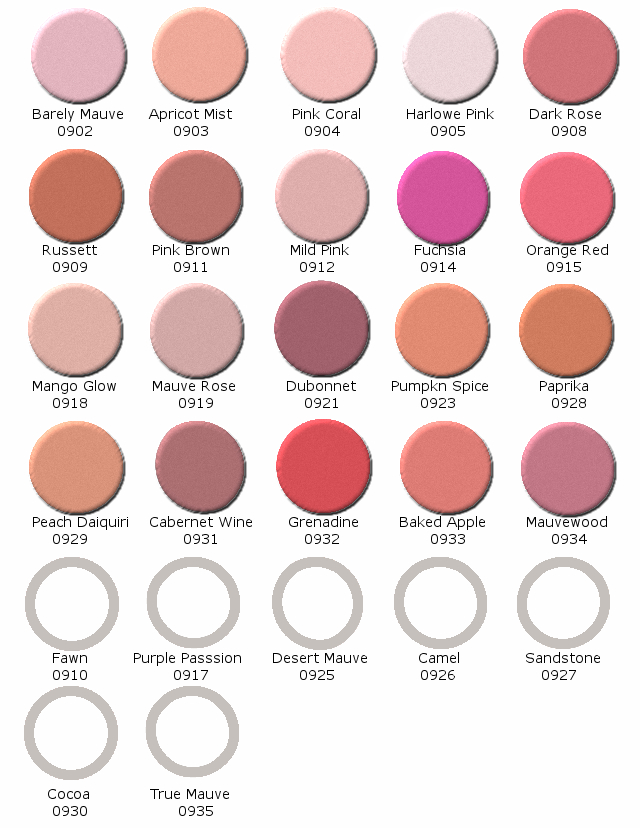 11 Powder Blush Highlights Color Chart
