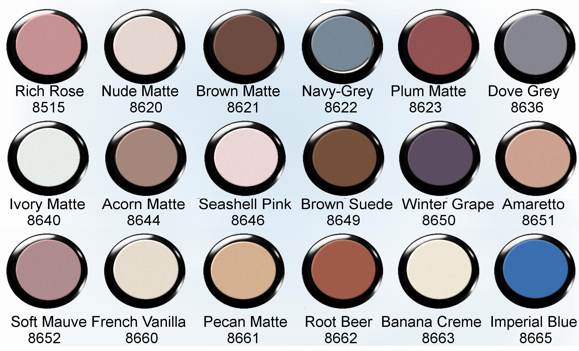 Eye shadowmatte finish derma pro 13 eye shadow matte finish color chart geenschuldenfo Gallery
